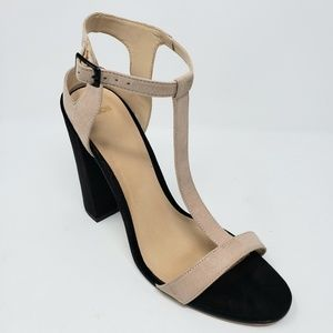 ASOS Shoes - Asos Nude and Black Block T-Strap Chunky Heels